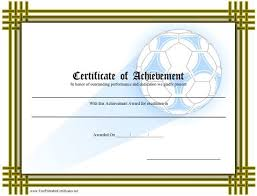 Printable Achievement Certificates A Printable Certificate Of Achievement With A Soccer Ball For Teams