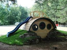 thanks to wooden wonders for these wonderful hobbit hole playhouses