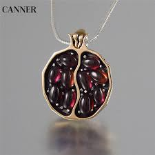 <b>Canner</b> Red Pomegranate Garnet Necklace Vintage Round <b>Gold</b> ...