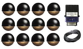 brightscapes landscape lighting with malibu antique copper and 6 14 piece kit round surface deck step path lights cast metal 7 watt black finish 150