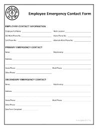 Employee Emergency Contact Information Template Employee Emergency Contact Template Employee Emergency
