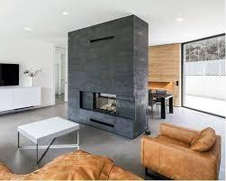 grey modern concrete fireplace designs