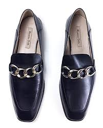 Massimo Dutti Womens Black Nappa Loafers With Chain Detail