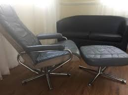 norwegian vintage office chair. Vintage Norwegian Skoghaug Industries Grey Leather Recliner Chair With Footstool Office U