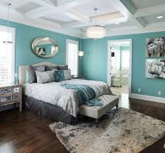 Peaceful White, Brown And Turquoise Bedroom Idea