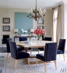 the dining room in victoria hagan s connecticut home love the navy blue chairs and the