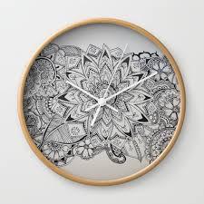 Henna Wall Designs Bloom Henna Pattern Wall Clock