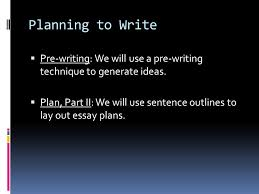 planning to write  pre writing we will use a pre writing  2 planning