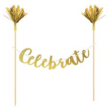 Celebrate Banner Celebrate Gold Cake Banner