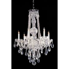 traditional crystal 6 light glass chandelier crystal type clear hand cut