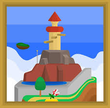 framed painting clipart. whomp\u0027s fortress, a super mario 64 painting by bradbeideman framed clipart h