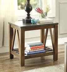 bluestone coffee table end with marble tile top dark oak round