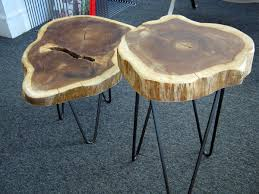 Rustic Tree Trunk Tables With 1950s French Style Hairpin Legs In Addition  To Beautiful Tree Trunk