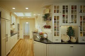 Galley Kitchens With Island Kitchen Cabinets Off White Cabinets Dark Granite Small Galley