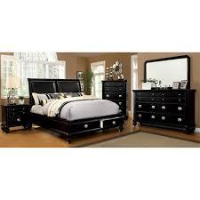 Queen bedroom sets with storage Luxury Bedroom Furniture Of America Helene Piece Storage Queen Bedroom Set In Black Idf7652lq4pc Cymax Furniture Of America Helene Piece Storage Queen Bedroom Set In
