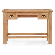 2 drawer dressing table natural colour oak finish wood storage bedroom furniture