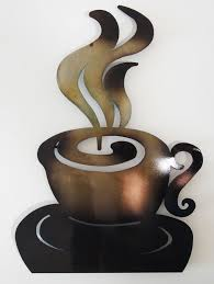 contemporary metal wall art abstract coffee cup
