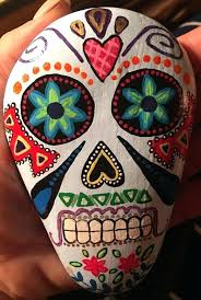 sugar skull paintings hand painted rock day of the dead unique gift idea face paint meaning