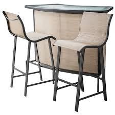 Tan 3 Piece Patio Bar Furniture Set Home Outdoor Sling Deck
