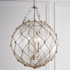 rope net glass sphere chandelier knot your average chandelier rope in a lattice net pattern