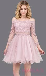 Light Pink Graduation Dress Love Story Long Sleeve Dusty Pink Lace Dress W Puffy Skirt