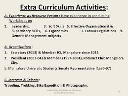 Extra Curricular Activities Examples For Resume Lovely