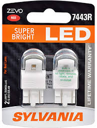 Sylvania 7443 T20 Zevo Led Red Bulb Bright Led Bulb Ideal For Stop And Tail Lights Contains 2 Bulbs