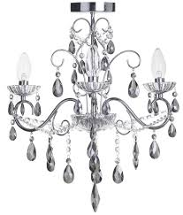 vara 3 light bathroom chandelier with smoke crystals chrome