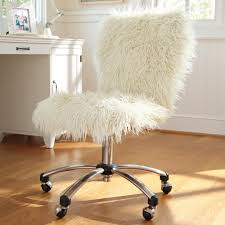 best white fuzzy wheeled adjustable height swivel desk chair for