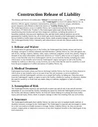 Construction Release Form Liability Waiver Form Form Trakore Document Templates 8