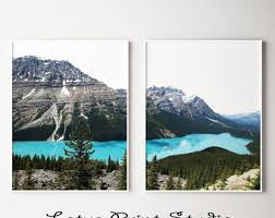 set of 2 prints lake landscape print mountain wall art teal art print large printable poster instant download 671 on wall art prints etsy with landscape print etsy