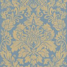 Blue And Gold Design Blue Gold Print Wallpaper