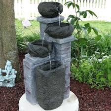 solar on demand fountain cascading stone bowls solar on demand water fountain with led light solar