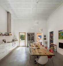 Polished Concrete Floor Kitchen House Of Three Brick Boxes And Outdoor Living Rooms Between