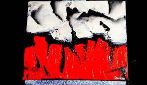red and white contrast abstract painting by dranitsin