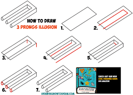 how to draw 3 gs optical illusion easy step by step drawing tutorial trick for kids