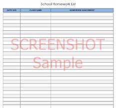 School Homework List Pdf Template Download