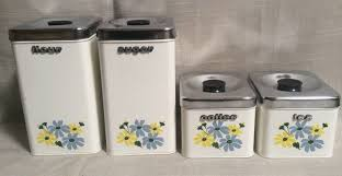 vintage metal kitchen canisters set of four mid century hand painted fl 60s 1 of 12 see more