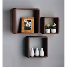 ... Black Wall Cube Shelves Grey Colored Wall Brown Wooden Material Three  Piece Picture Frame Ceramic Ornament ...