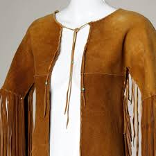 brown traditionally hand crafted vintage native american buckskin fringe coat for