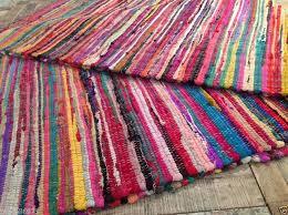 shabby chic fringed recycled fabric multi coloured rag rug