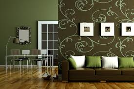 Enjoyable Floral Sticker Wall Decals And Brown Couch As Well As Mirrored  Mounted At Green Wall Painted As Decorate In Cozy Green Living Room Designs