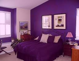 Nice Black Iron Queen Bed Frame With Purple Quilt As Cover Sheet Also  Wooden Nightsands And Lamp Shade As Well As Art Work On Lavender Bedroom  Wall Color ...