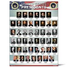 Us Presidents Chart Usa Presidents Of The United States Of America Poster New Chart Laminated Classroom Portrait School Wall Decoration Learning History Flag Metal15x20