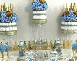 25CT Royal Prince Blue And Gold Glitter Crown Bubbles With  Cha Prince Themed Baby Shower Centerpieces
