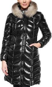 moncler bellette black laquered down fur coat