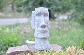 moai statue made of concrete for interior decoration and garden