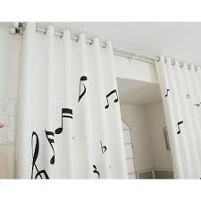 Black and White Unique Nursery Music Note Curtains and Drapes
