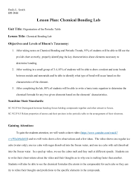 Chemical Bonding Lab Lesson Plan