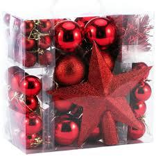 Weihnachtskugeln 77 Tlg Set Rot Weihnachtsbaumschmuck Weihnachtsbaumkugeln Kunststoff Christbaumschmuck Christbaumkugeln